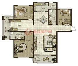 鼎秀华城二期三室两厅两卫建筑面积约185.43平米和143.82平米户型04