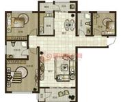 鼎秀華城二期三室兩廳兩衛建筑面積約129.06平米和143.88平米戶型圖