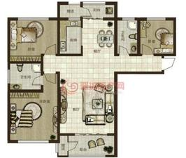 鼎秀华城二期三室两厅两卫建筑面积约129.06平米和143.88平米户型图