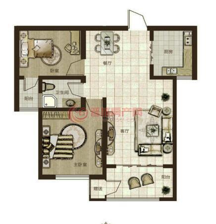 鼎秀華城二期兩室兩廳一衛建筑面積約87.01平米和88.84平米戶型