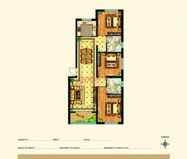 皇城新区3号楼标准层I户型三室两厅两卫一厨建筑面积约120.06㎡