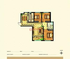 皇城新区3号楼标准层J户型三室两厅一卫一厨建筑面积约113.47㎡