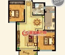 皇城新区8号楼标准层H户型二室两厅两卫一厨建筑面积约106.69㎡