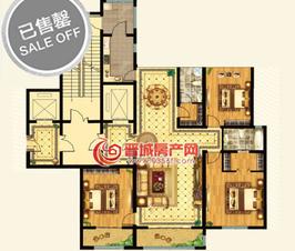 皇城新区6号楼标准层E户型三室两厅两卫一厨建筑面积约183.89㎡