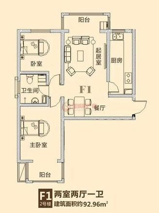 兰煜龙湾97平米 南北通透 稀缺两居室 纯毛坯 90万