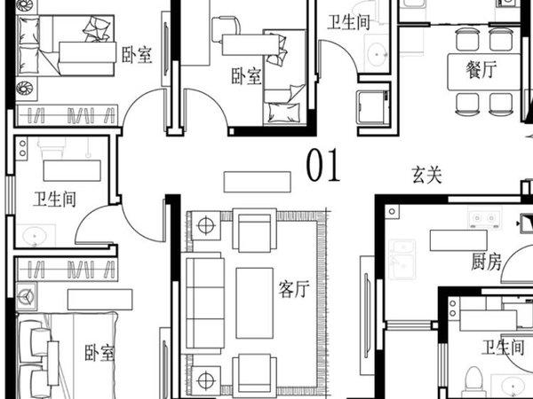 新界花园三室两厅两卫130平米住宅出售