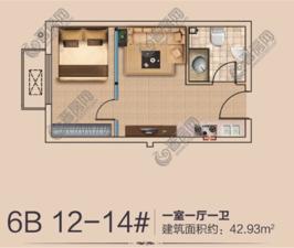 香滨城香颂建面约43平米户型